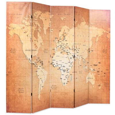 vidaXL Skládací paraván 200 x 170 cm Mapa světa žlutý