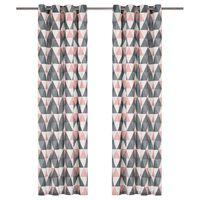 vidaXL Závěsy s kovovými kroužky 2 ks bavlna 140 x 245 cm šedo-růžové