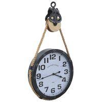 vidaXL Nástěnné hodiny na provazu černo-hnědé 40x8x82 cm železo a MDF
