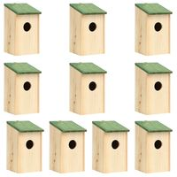 vidaXL Bird Houses 10 pcs Solid Firwood 12x12x22 cm