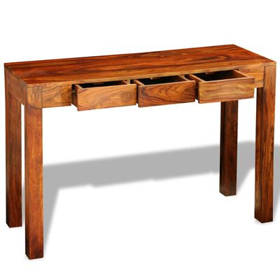 vidaXL Konzolový stolek se 3 zásuvkami 80 cm masivní sheeshamové dřevo