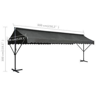 vidaXL Volně stojící markýza 600 x 300 cm antracitová