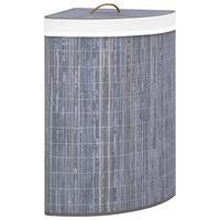 vidaXL Rohový bambusový koš na prádlo šedý 60 l