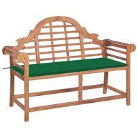vidaXL Zahradní lavice se zelenou poduškou 120 cm masivní teak