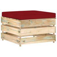 vidaXL Dílčí taburet s poduškou zeleně impregnované dřevo