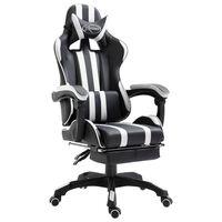 vidaXL Herní židle s podnožkou bílá umělá kůže