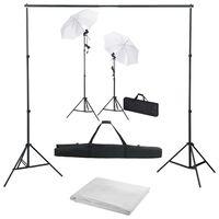 vidaXL Foto studio set s fotopozadím, osvětlením a deštníky