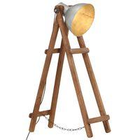 vidaXL Stojací lampa stříbrná masivní mangovníkové dřevo