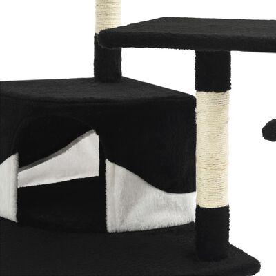 vidaXL Škrabadlo pro kočky sisalové sloupky 203 cm černé a bílé