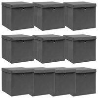 vidaXL Úložné boxy s víky 10 ks šedé 32 x 32 x 32 cm textil