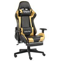 vidaXL Otočná herní židle s podnožkou zlatá PVC