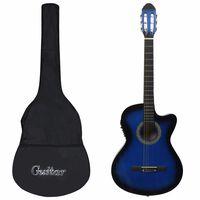 vidaXL 12dílný folkový kytarový set s ekvalizérem a 6 strunami modrý