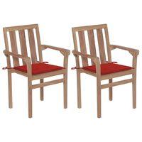 vidaXL Zahradní židle 2 ks červené podušky masivní teakové dřevo