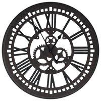 vidaXL Nástěnné hodiny černé 70 cm MDF