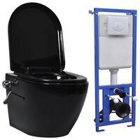 vidaXL Závěsné WC bezobrubové s podomítkovou nádržkou keramika černé