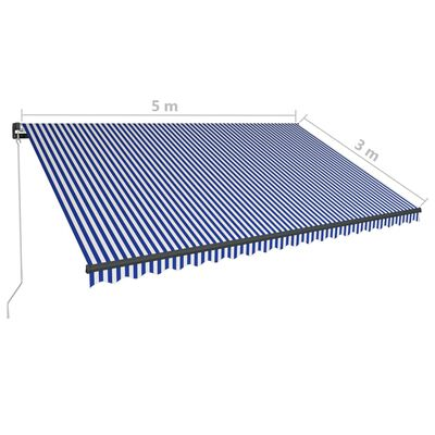 vidaXL Ručně zatahovací markýza s LED světlem 500 x 300 cm modrobílá