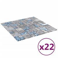 vidaXL Samolepicí mozaikové dlaždice 22 ks šedé a modré 30x30 cm sklo