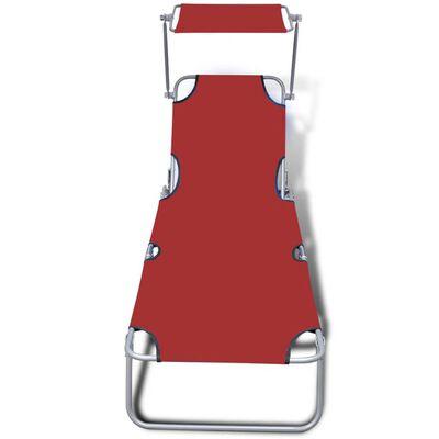 vidaXL Skládací opalovací lehátko se stříškou ocel a textil červené