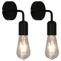 vidaXL Nástěnná světla 2 ks se žhavicími žárovkami 2 W černá E27