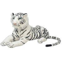 vidaXL Tygr plyšová hračka bílý XXL