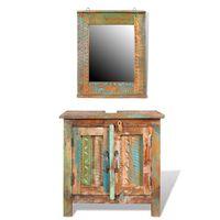 Koupelnová sada z recyklovaného masivního dřeva se zrcadlem