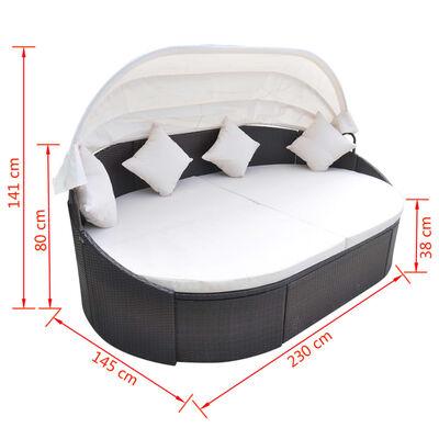 vidaXL Zahradní postel s baldachýnem polyratan hnědá
