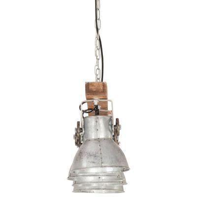 vidaXL Industriální stropní svítidlo stříbrné E27 mangovníkové dřevo