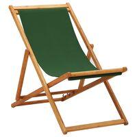 vidaXL Skládací plážové křeslo eukalyptové dřevo a textil zelené