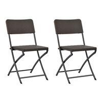 vidaXL Skládací zahradní židle 2 ks HDPE a ocel hnědé
