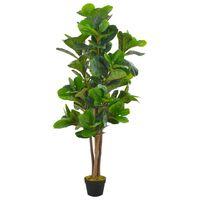 vidaXL Umělá rostlina fíkus lyrový s květináčem zelená 152 cm