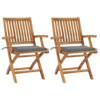 vidaXL Zahradní židle 2 ks šedé podušky masivní teakové dřevo