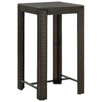 vidaXL Zahradní barový stůl hnědý 60,5 x 60,5 x 110,5 cm polyratan
