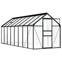 vidaXL Skleník antracitový hliníkový 9,31 m²