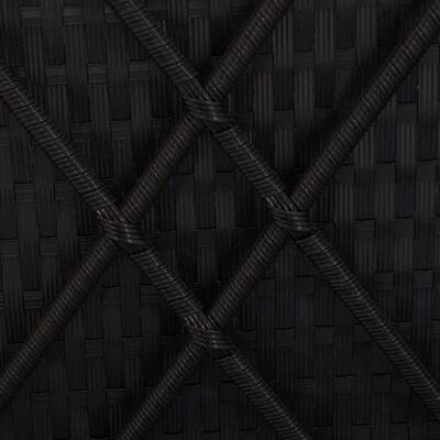 vidaXL Rozkládací zahradní lehátko s poduškou polyratan černé