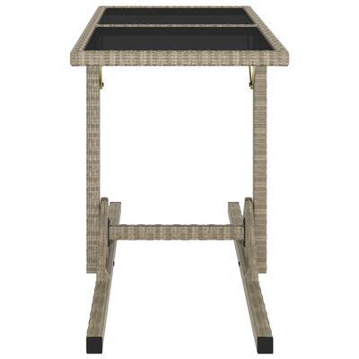 vidaXL Zahradní stůl béžový 110 x 53 x 72 cm sklo a polyratan