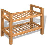 vidaXL Botník se 3 policemi 100 x 27 x 59,5 cm masivní dubové dřevo