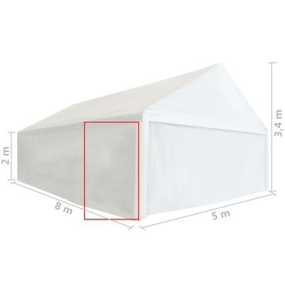 vidaXL Boční stěna k party stanu PVC 2 x 2 m bílá 550 g/m²