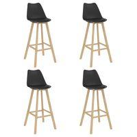vidaXL Barové stoličky 4 ks černé PP a masivní bukové dřevo