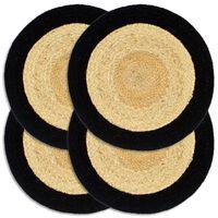 vidaXL Prostírání 4 ks přírodní a černé 38 cm juta a bavlna