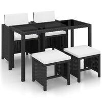 vidaXL 5dílný zahradní jídelní set s poduškami polyratan černý