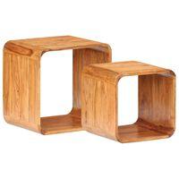 vidaXL Odkládací stolky 2 ks masivní akáciové dřevo sheeshamový povrch