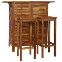 vidaXL Barový stůl a židle sada 3 kusů z masivního akáciového dřeva