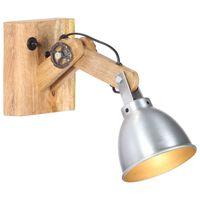 vidaXL Nástěnná lampa E27 stříbrná masivní mangovníkové dřevo a železo