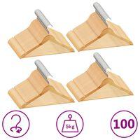 vidaXL 100 ks šatních ramínek protiskluzové tvrdé dřevo