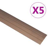 vidaXL Podlahové profily 5 ks hliník 100 cm hnědé