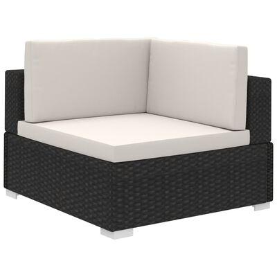 vidaXL 8dílná zahradní sedací souprava s poduškami polyratan černá, Černý