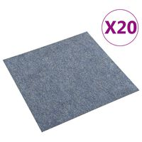vidaXL Podlahové kobercové dlaždice 20 ks 5 m² modré