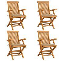 vidaXL Zahradní židle s béžovými poduškami 4 ks masivní teak