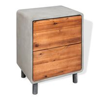 vidaXL Noční stolek beton a masivní akáciové dřevo 40 x 30 x 50 cm
