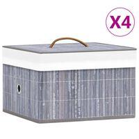 vidaXL Bambusové úložné boxy 4 ks šedé